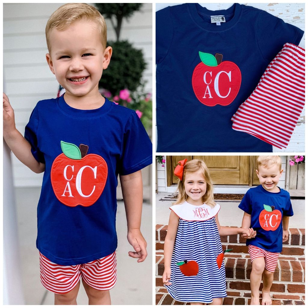 Boys Back To School Apple Applique Shirt and Shorts Set Outfit
