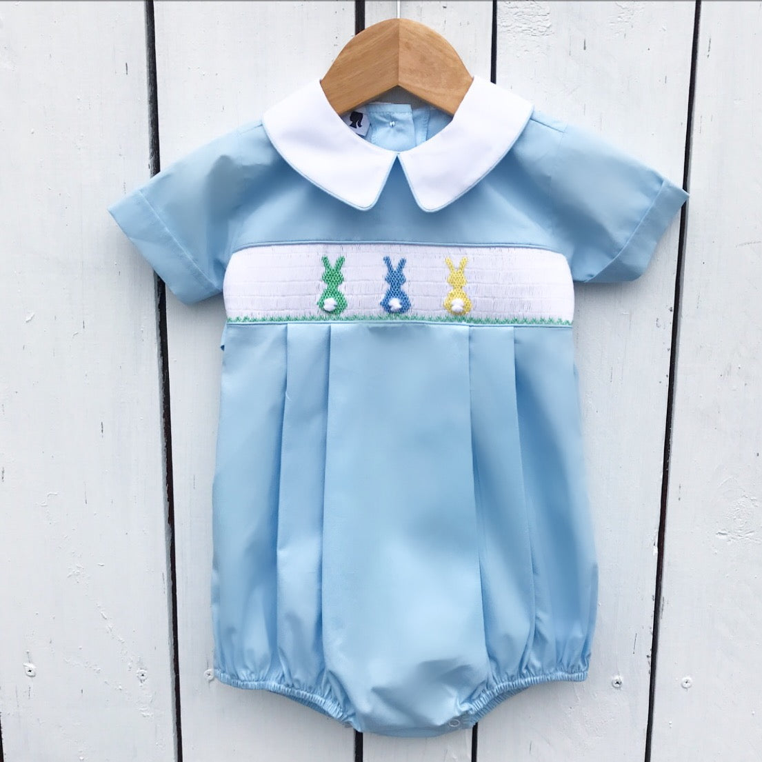 Smocked Bunny Bubble for Boys