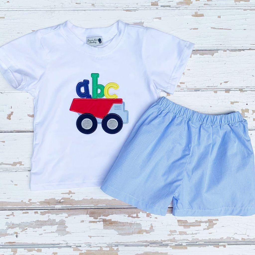 Boys Back to School ABC Dump Truck Applique Shirt and Short Set