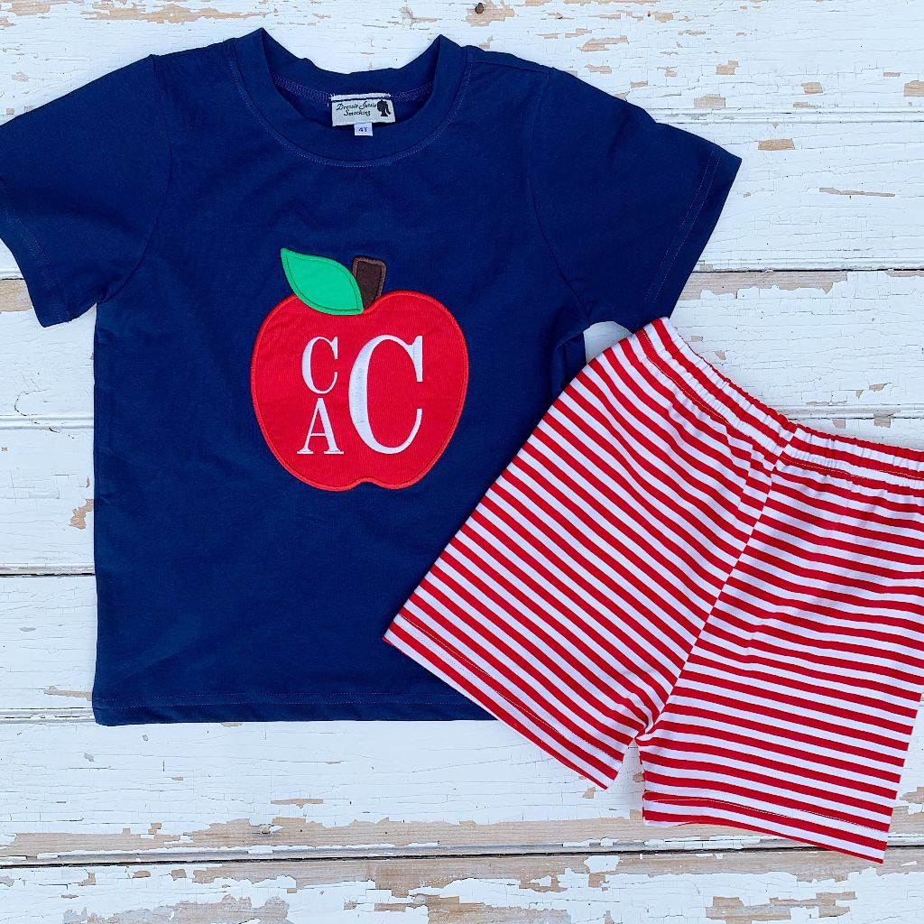 Boys Back to School Outfit Monogram Apple Shirt