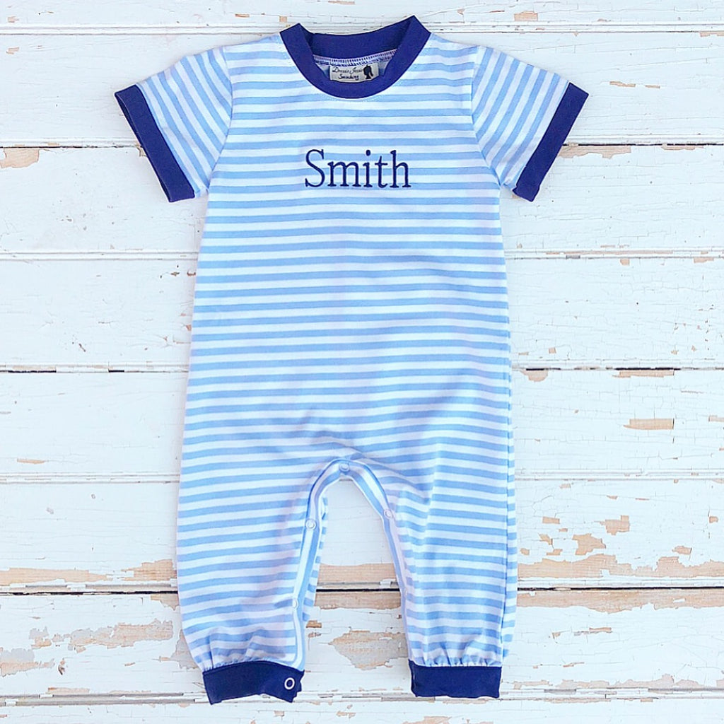 Boys Blue Striped Knit Personalized Romper
