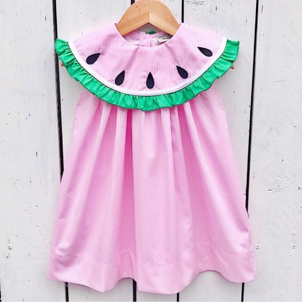 Girls Vintage Style Watermelon Dress Pink Gingham Embroidery