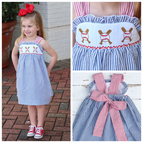 Smocked Baseball Dress Girls Smocked Clothing Baseballs