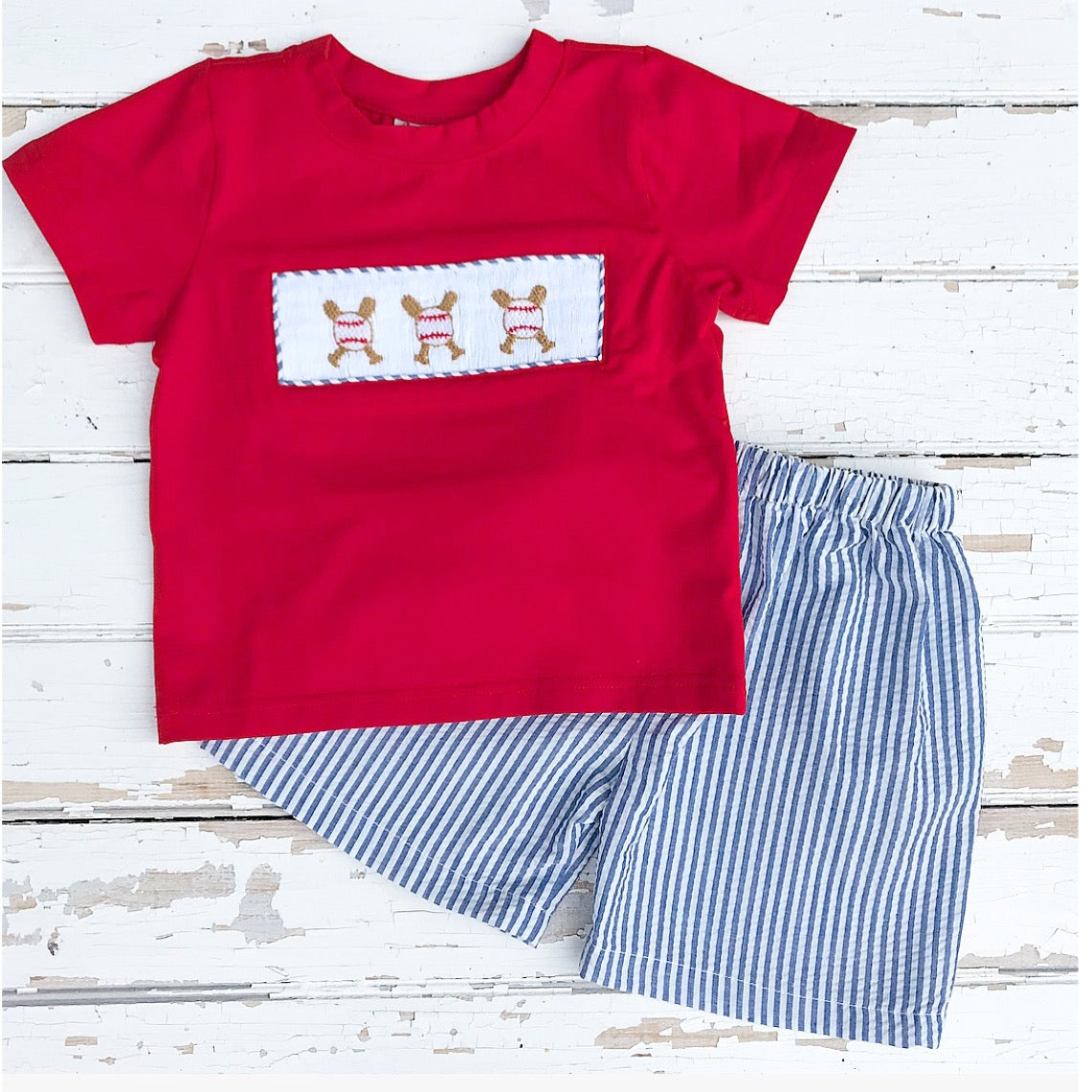 Smocked Baseball Shirt and Shorts Set Boy Outfit Smocking