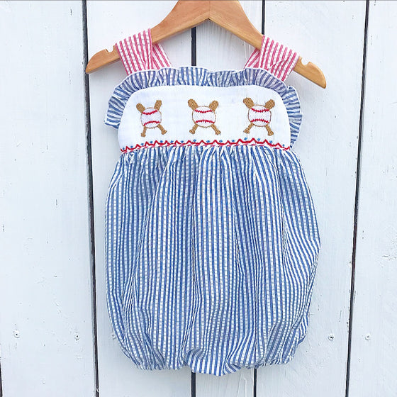 Baby Toddler Girls Smocked Baseball Bubble Romper Outfit