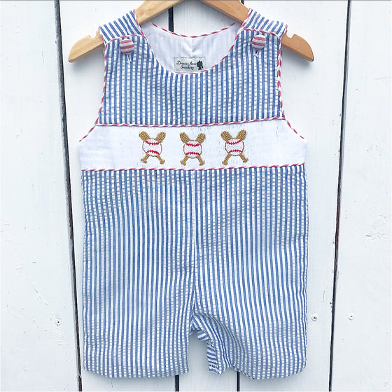 Smocked Baseball Shortall Jon-Jon Boys Outfit Clothing