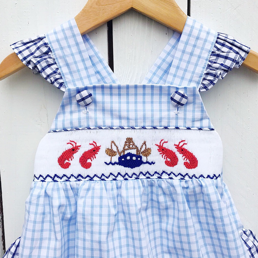 Baby Girls Smocked Shrimp Bubble with Ruffles