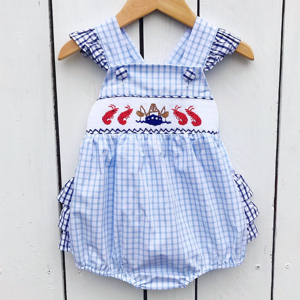 Infant Baby Toddler Girls Smocked Bubble Shrimp Boat Crawfish Lobster Smocking