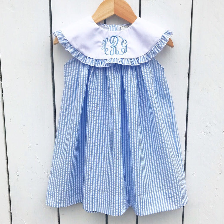 Girls Classic Float Dress Blue Seersucker Dress with Free Monogram