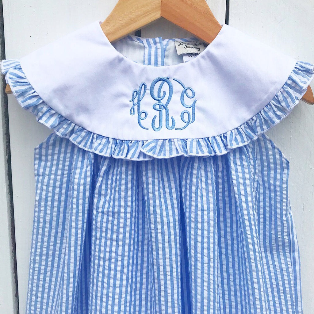 Baby Toddler Girls Monogrammed Collar Dress Blue Seersucker Striped Girls Dress