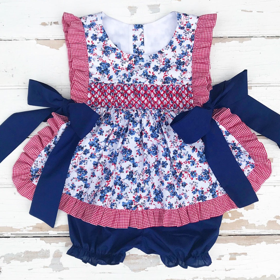 Smocked Bluebell Pinafore Set