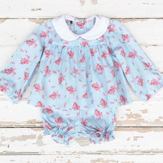 Baby Toddler Girl Floral Bloomer Set Peter Pan Collar
