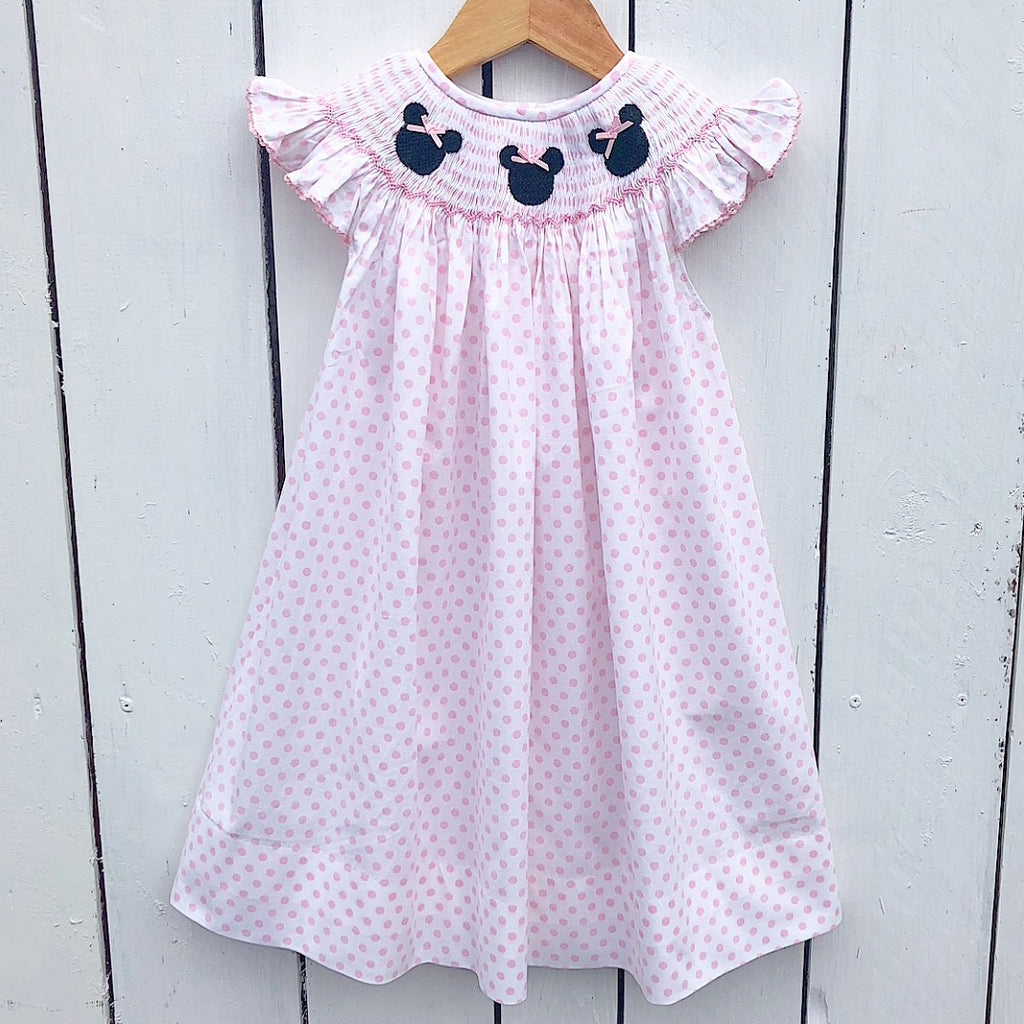 Disney Smocked Minnie Mouse Pink Dot Bishop Dress