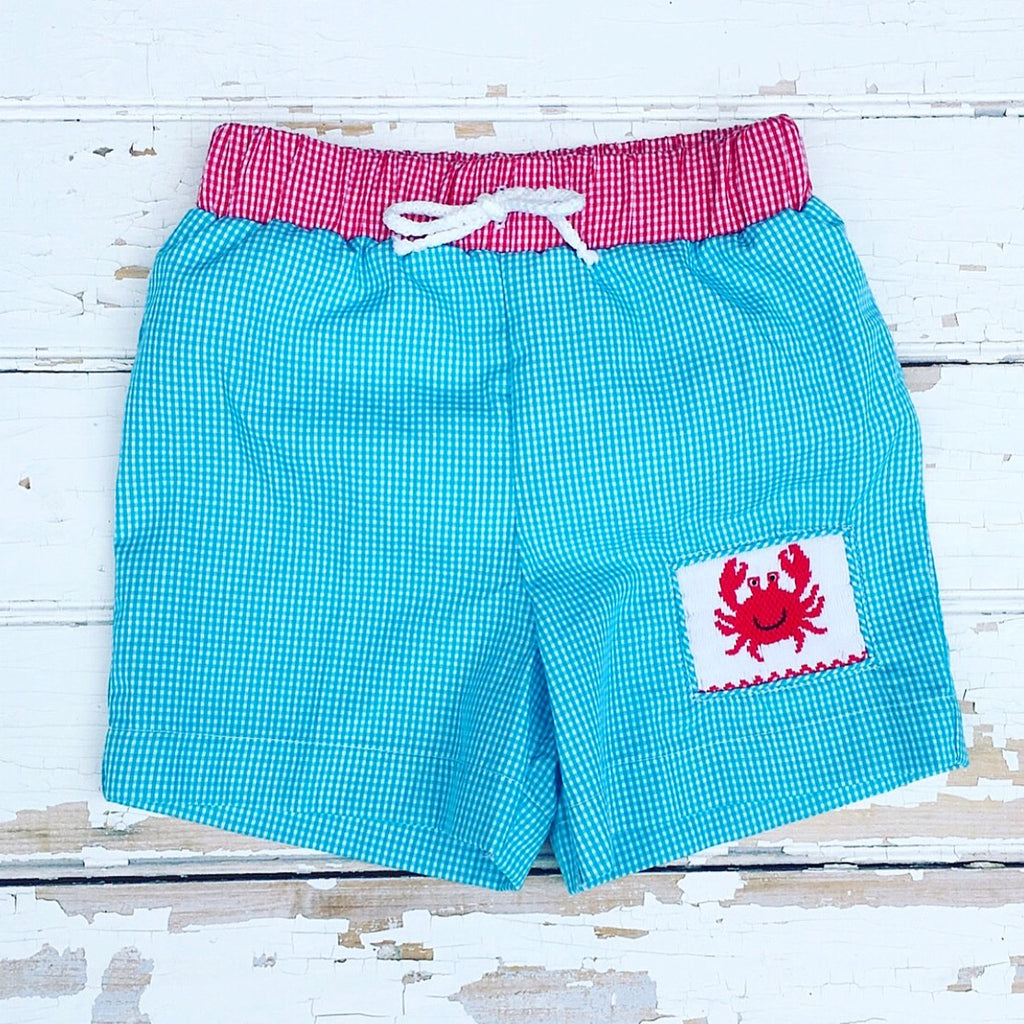 Turquoise Gingham Smocked Crab Swimsuit Swim Trunks
