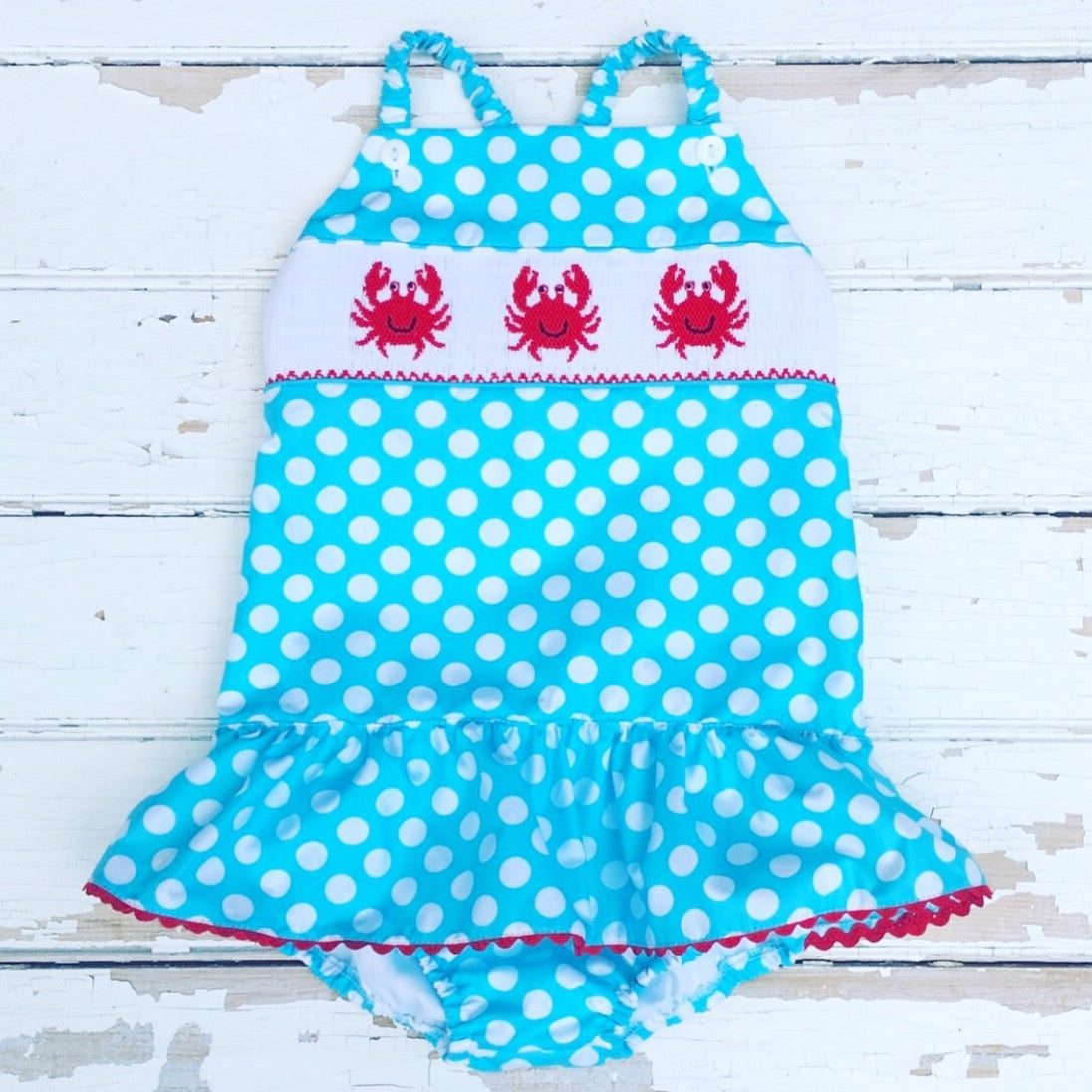 Smocked Turquoise Polka Dot Smocked Crab Swimsuit