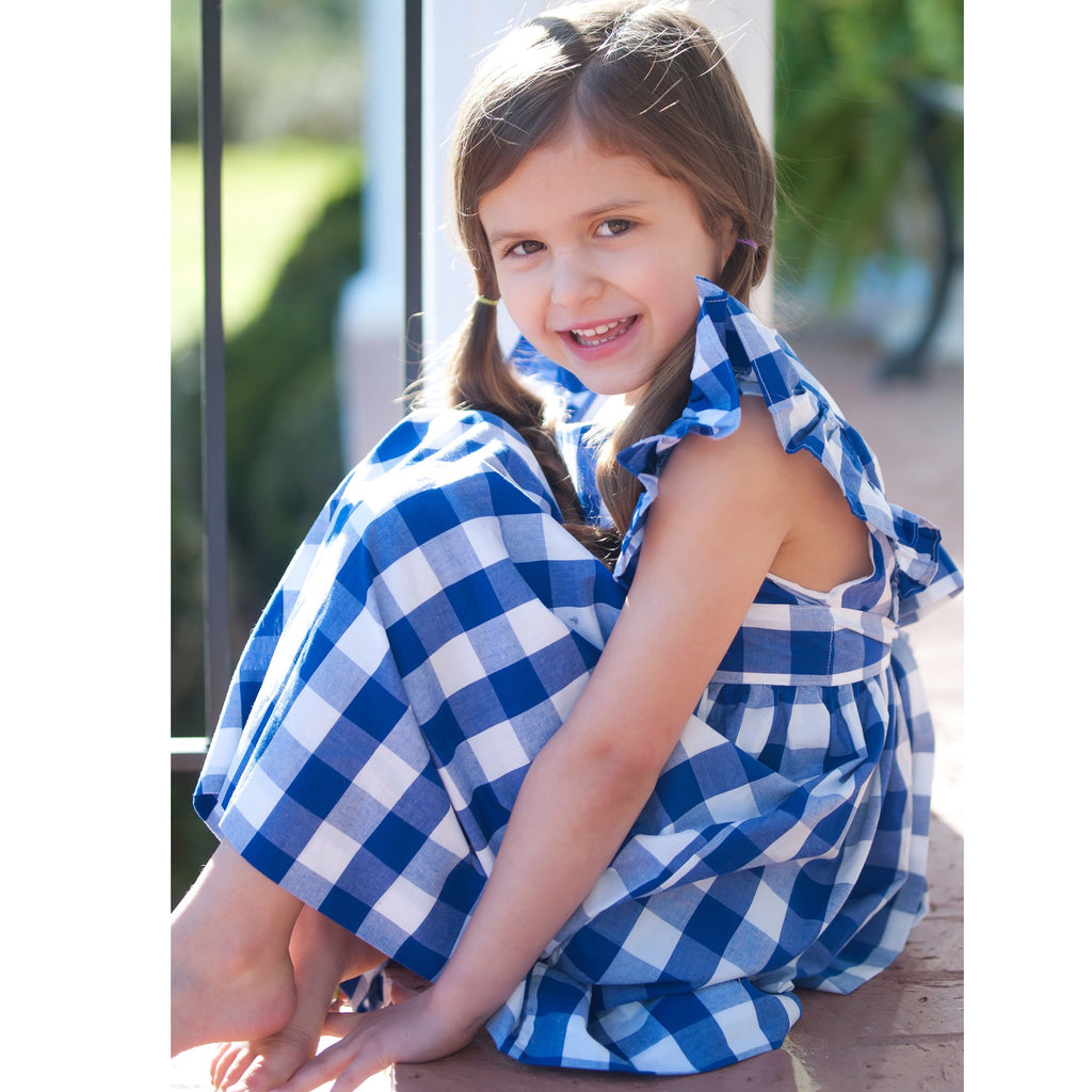 Girls Blue and White Pinafore Vintage Style Dress Gingham Check