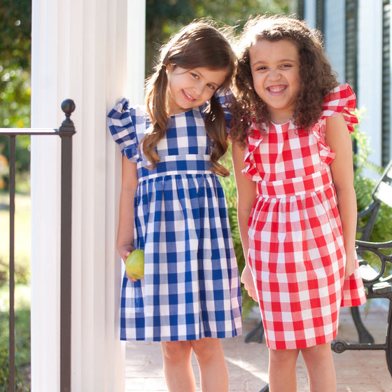 Buffalo Check Pinafore Style Dress for Girls Navy Blue Gingham