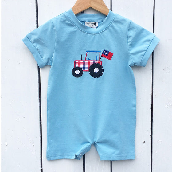 Infant Toddler Boys All American Tractor Outfit Knit Romper Jon Jon