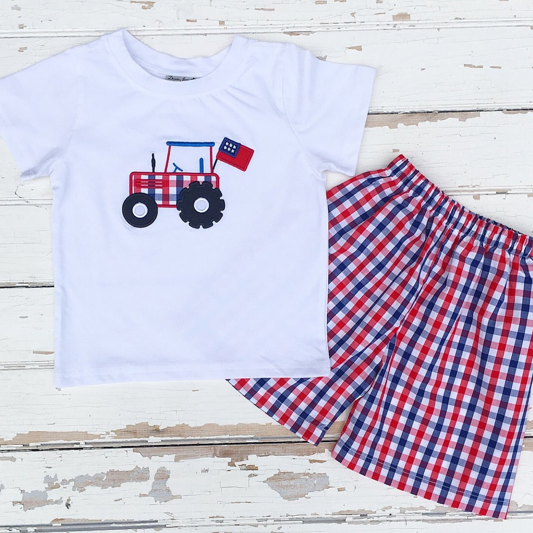 Boys Summer Play Wear Outfit Red White Blue Gingham Check Shorts and Tractor Applique Shirt