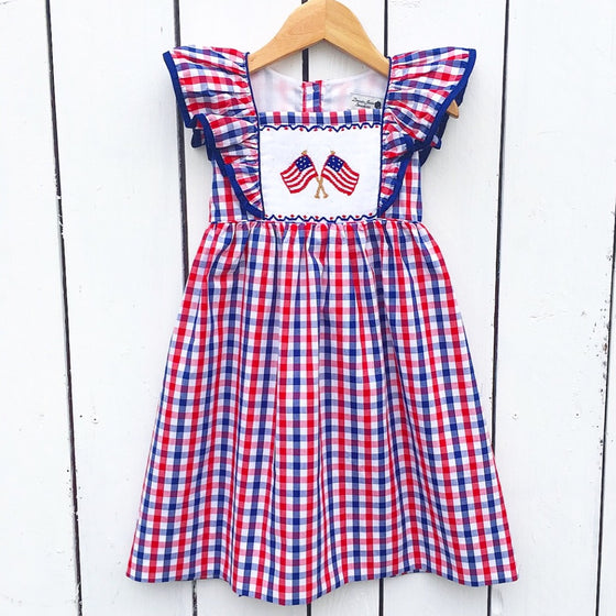 Girls Smocked Flag Dress Pinafore Red White Blue Gingham Check