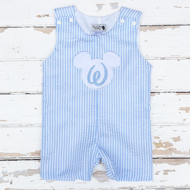 Boys Light Blue Seersucker Monogrammed Disney Mickey Mouse Applique Shortall