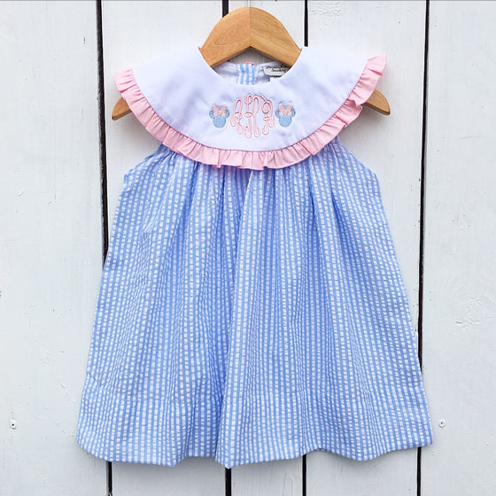 Light Blue Seersucker Monogrammed Float Dress with Pink Ruffle Detail and Disney Minnie Mouse Embroidery