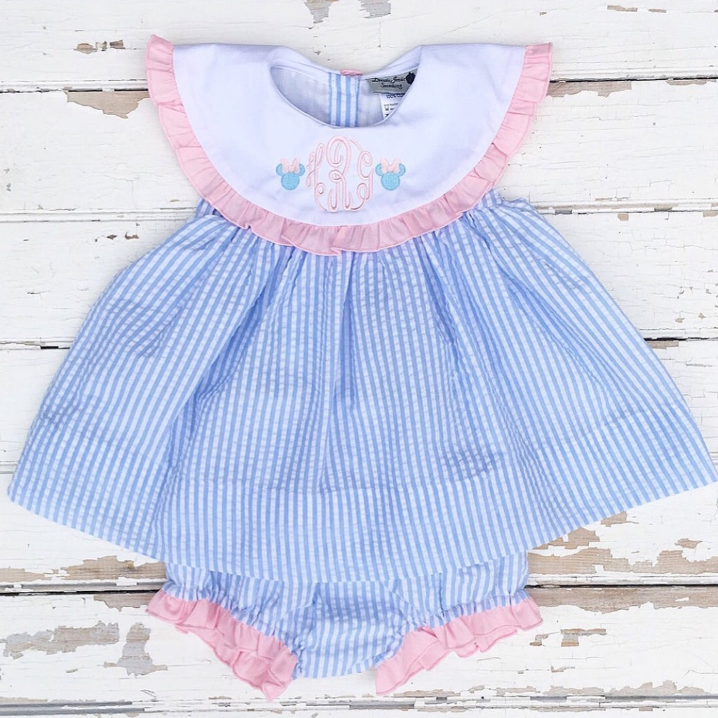 Light Blue Seersucker Monogrammed Bloomer Set with Pink Ruffle Detail and Disney Minnie Mouse Embroidery