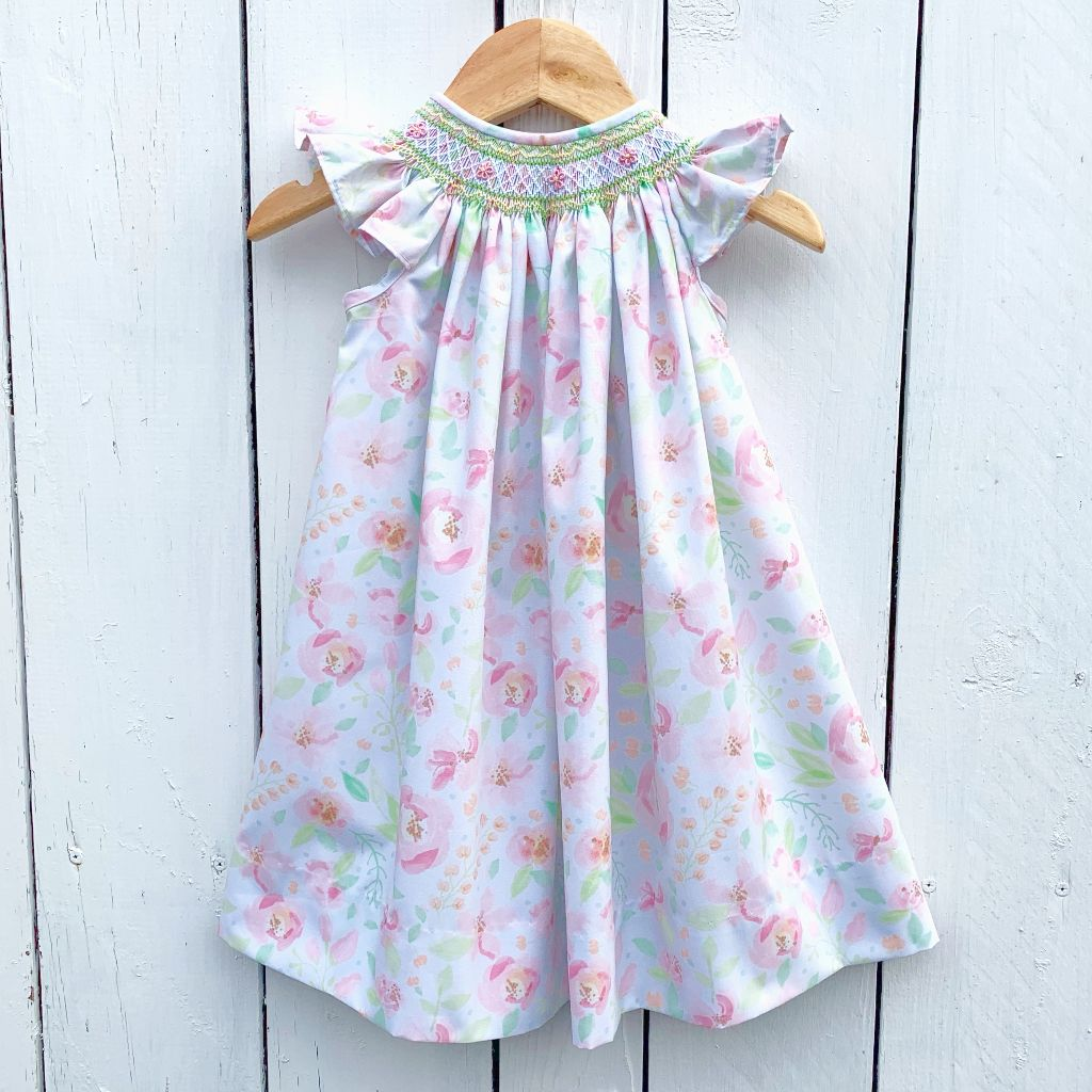 Smocked Floral Bishop Dress