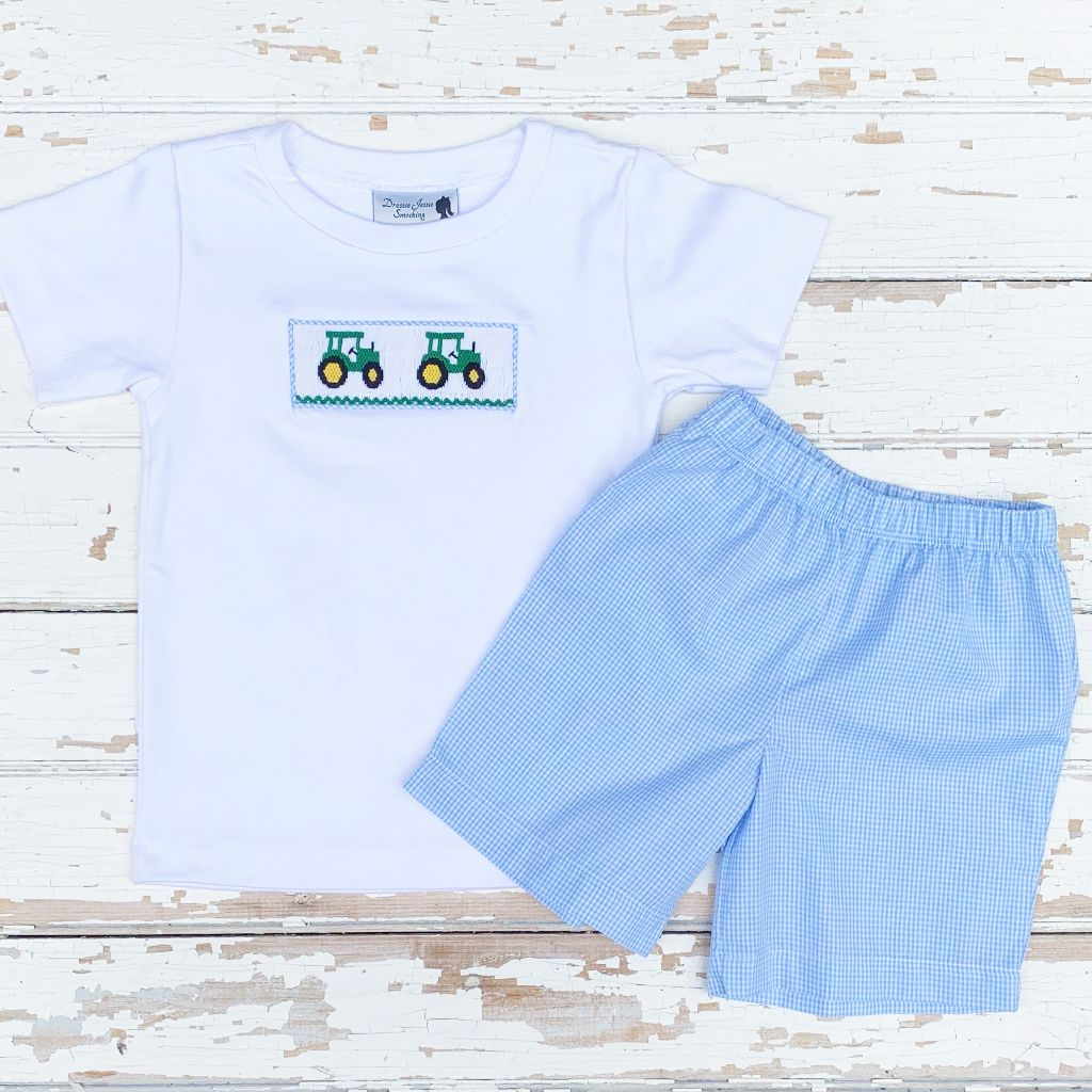 Boys Smocked Clothing Smocked Tractor Shirt and Short Set