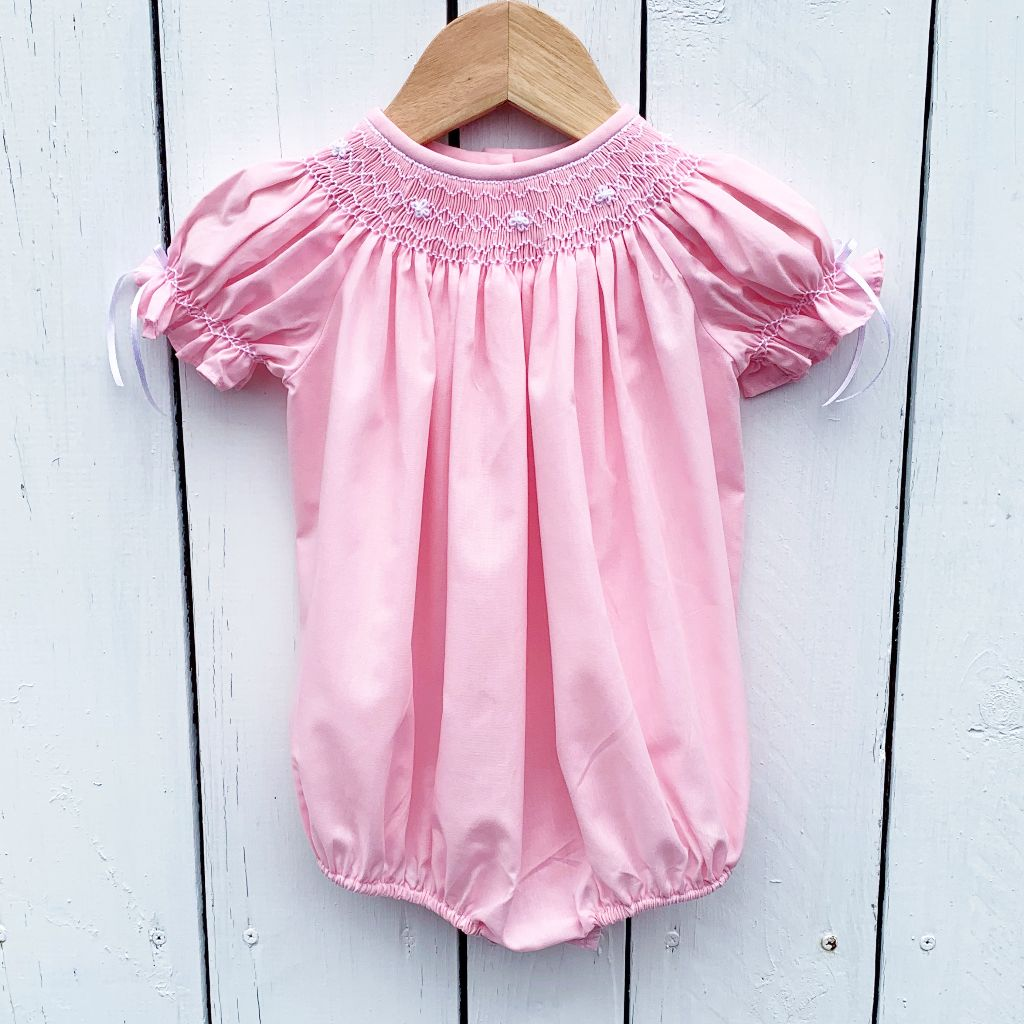 Baby Toddler Girls Smocked Heirloom Pink Bubble