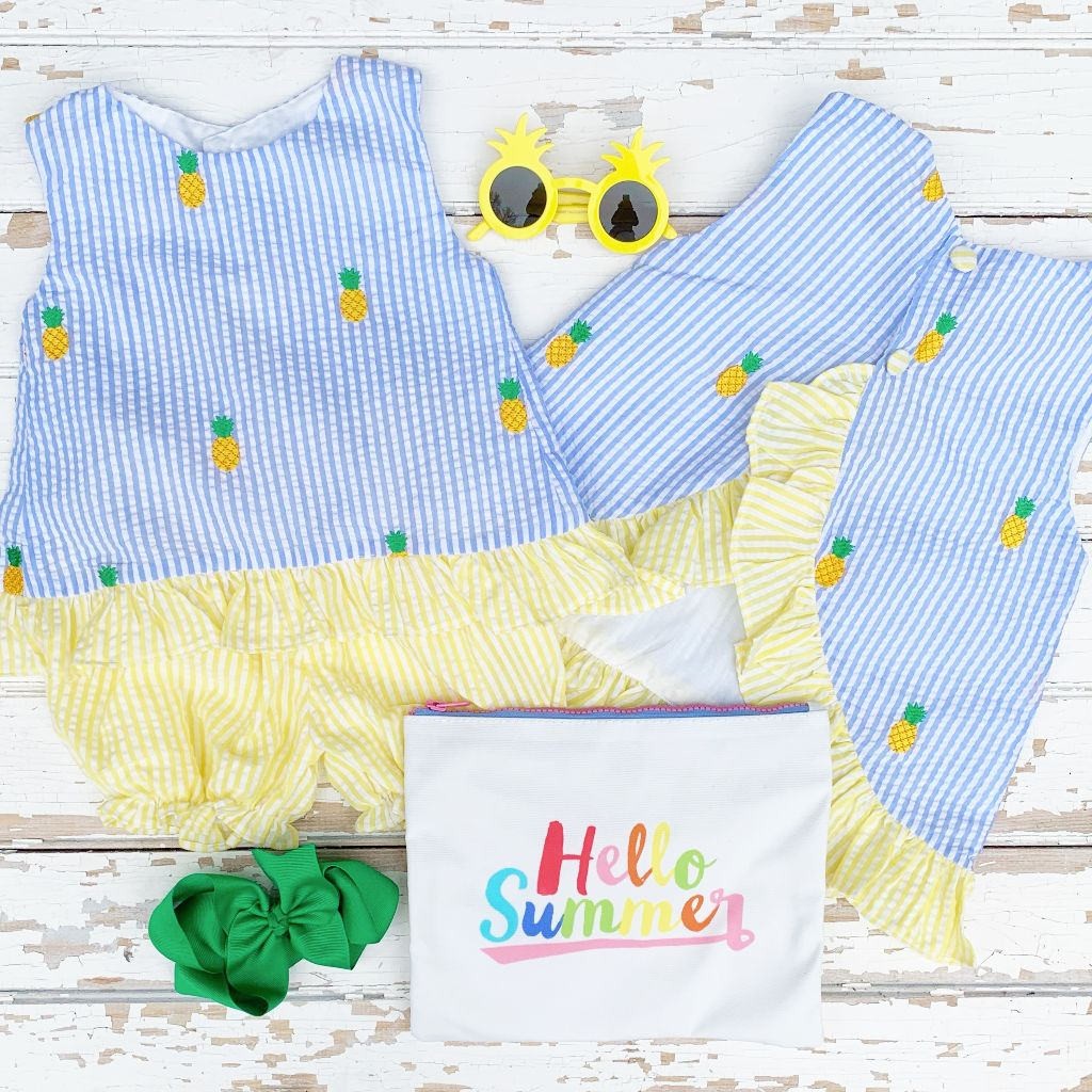 Embroidered Pineapple Girls Top and Shorts Set