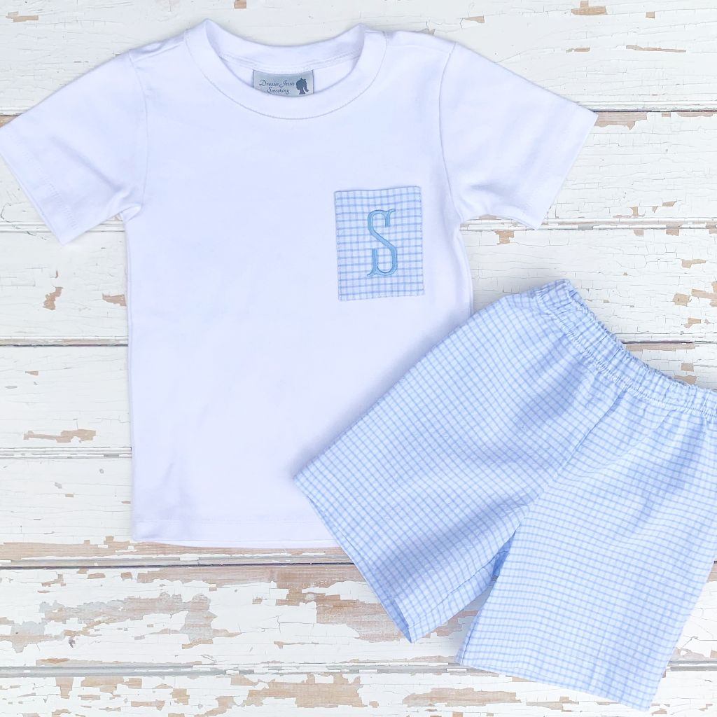 Blue Seersucker Short Set Pre-Order