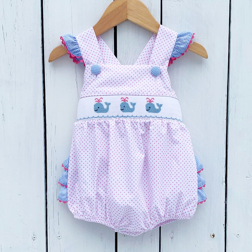Girls Pink Polka Dot Smocked Whale Bubble