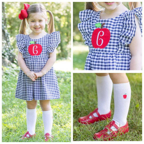 Blue Gingham Apple Monogram Back to School Dress