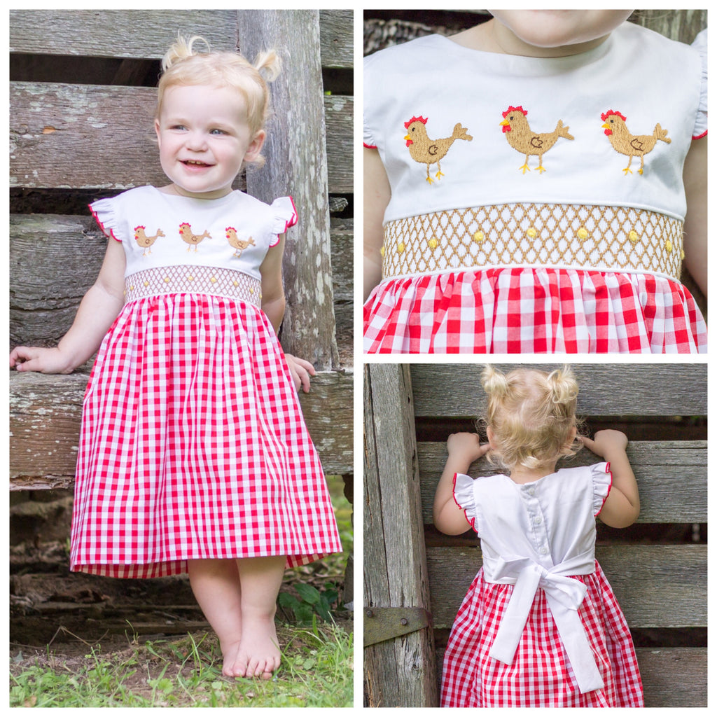 Smocked Chicken Dress Red Gingham Farm Smocking