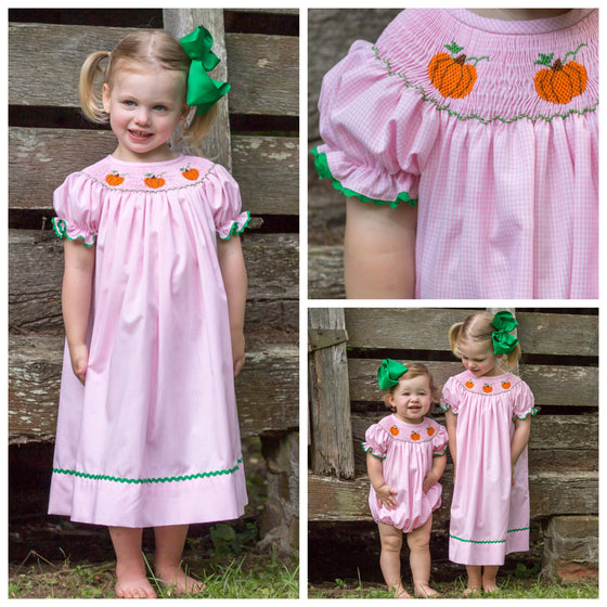 Pink Gingham Smocked Pumpkin Bishop Dress