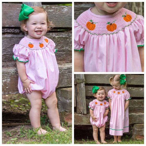 Pink Smocked Pumpkin Bubble