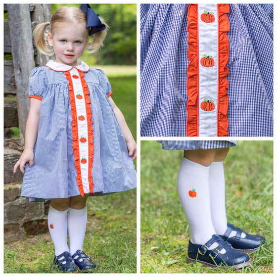 Navy Gingham Fall Dress with Pumpkin Embroidery