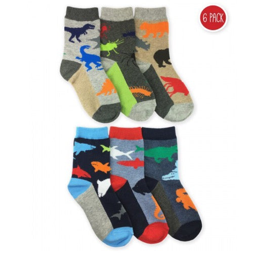 Animal Crew Socks, 6 Pairs