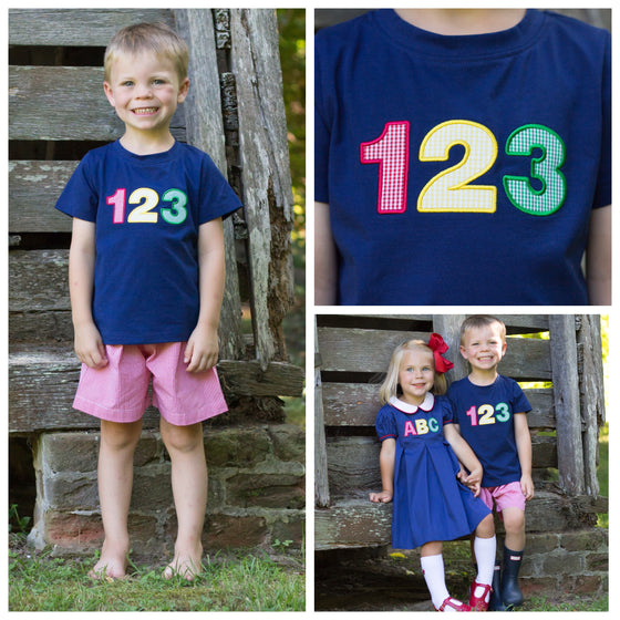 Boys Back to School 123 Applique Shirt and Shorts Set