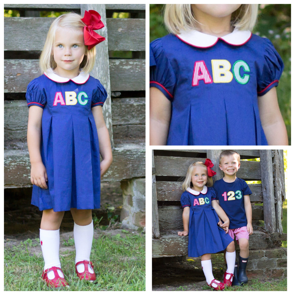 Girls Back To School Dress ABC Applique Pleat Dress
