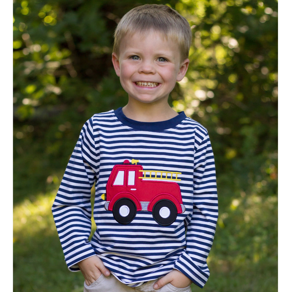 Boys Navy Stripe Knit Shirt with Fire Truck Applique