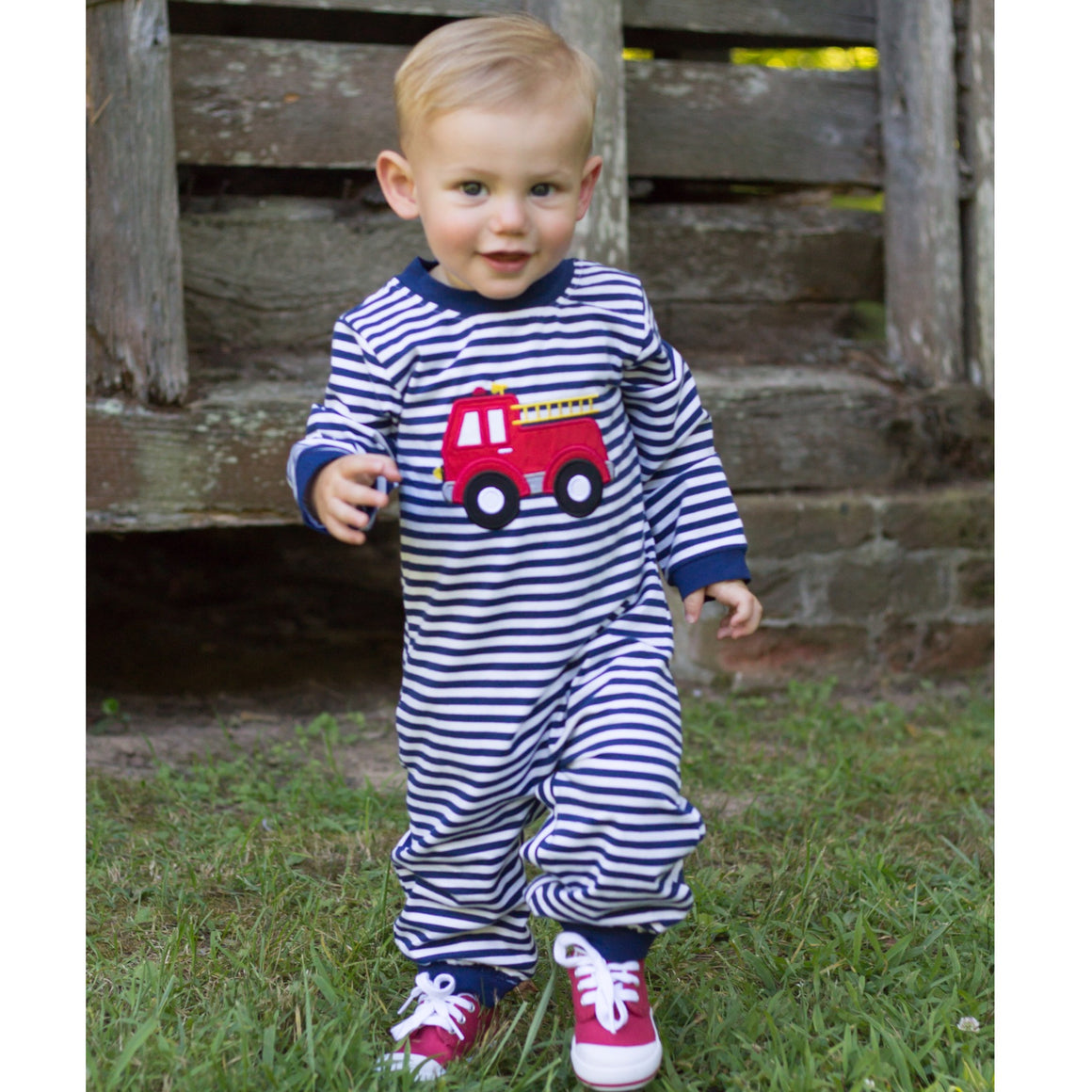 Boys Navy Stripe Knit Romper with Fire Truck Applique