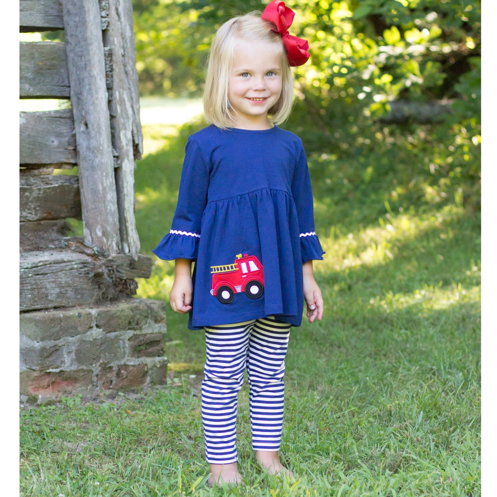 Girls Navy Knit Tunic with Fire Truck Applique and Navy Stripe Leggings