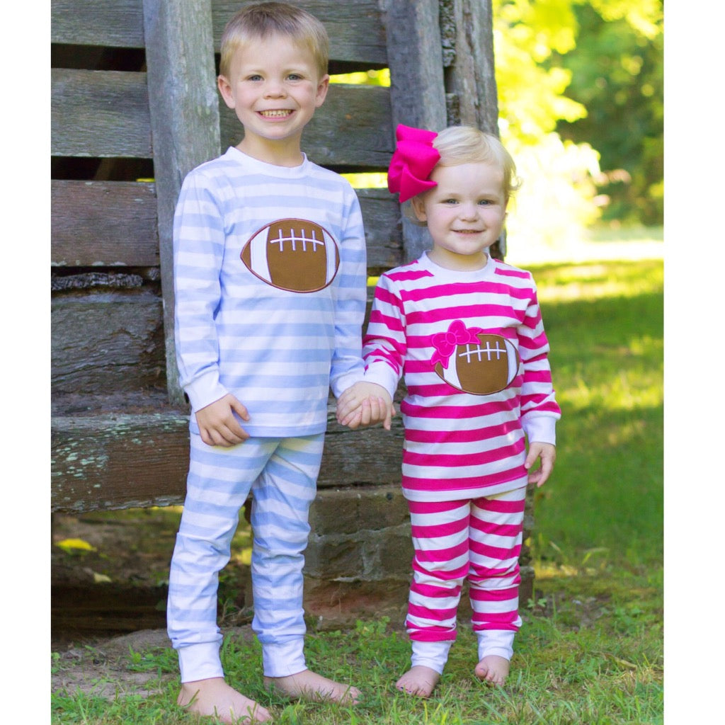 Blue Stripe Knit Pajamas with Football Applique