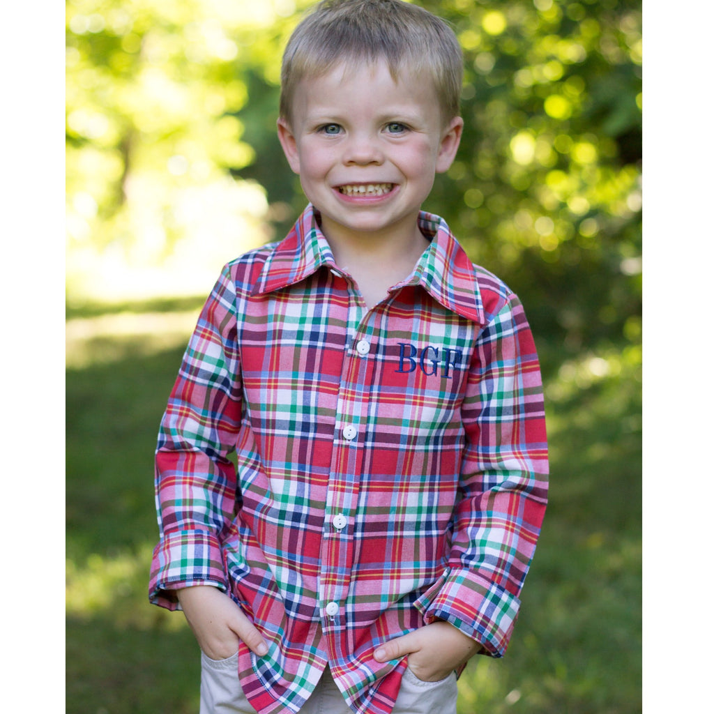 Classic Red Navy Blue White Plaid Button Up Shirt Boys Monogram