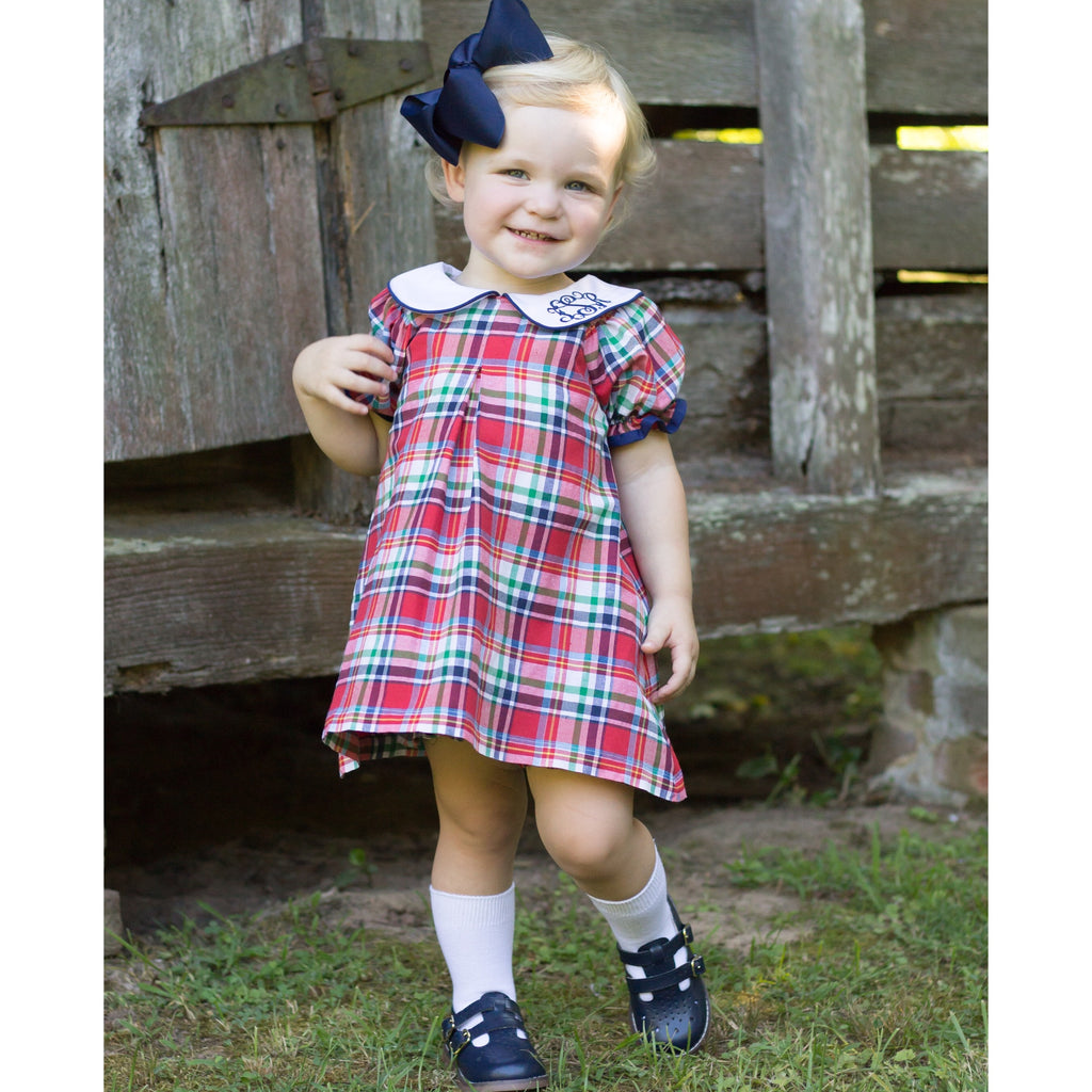 Classic Red Navy Blue White Plaid Dress Bloomer Set Monogram