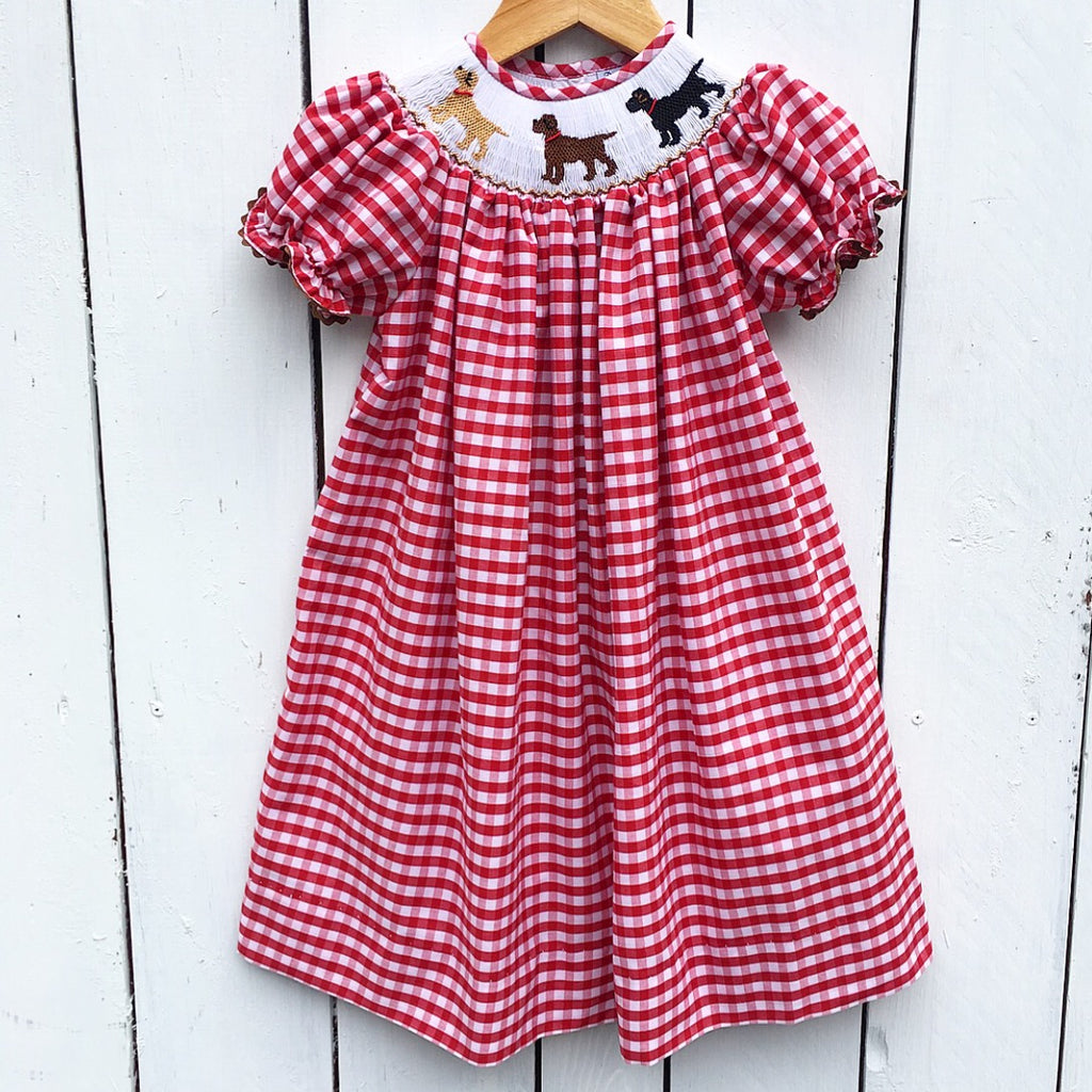 Red Gingham Smocked Lab Dog Bishop Dress