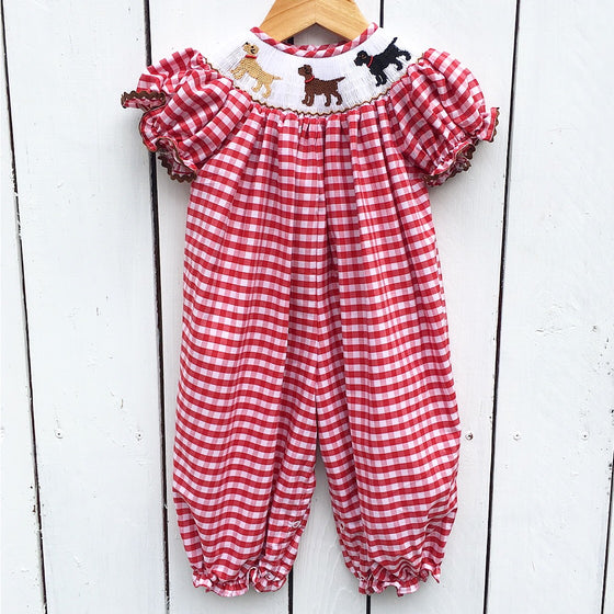 Red Gingham Smocked Labrador Retriever Lab Bubble