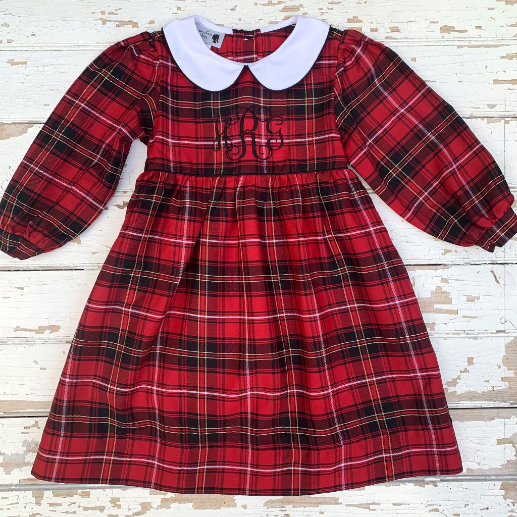 Girls Classic Christmas Plaid Dress Monogram